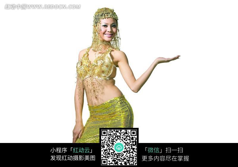 扶腿摆手势的泰国服饰美女图片 女性女人图片