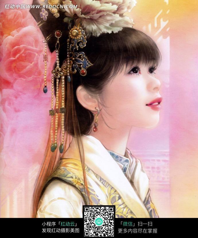 手绘古装美女素材图片