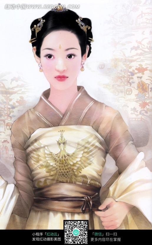 漂亮的手绘效果古装美女图片素材_女性女人图片