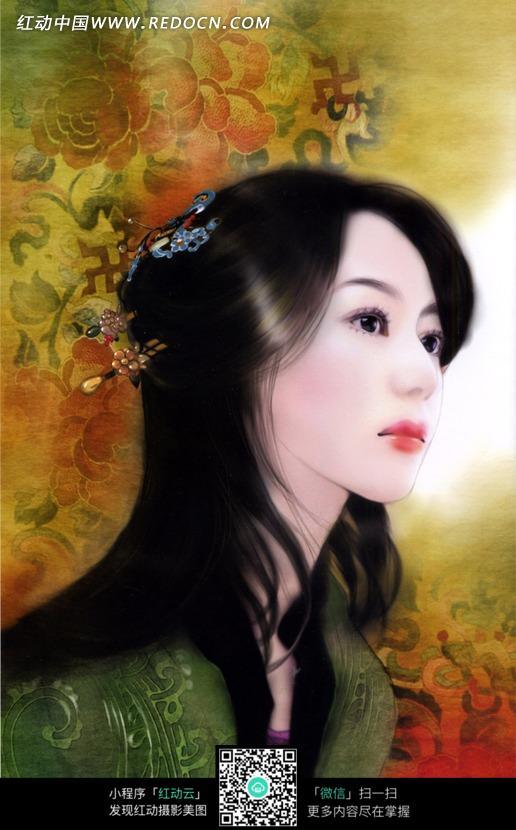 漂亮的手绘效果古装美女素材_女性女人图片