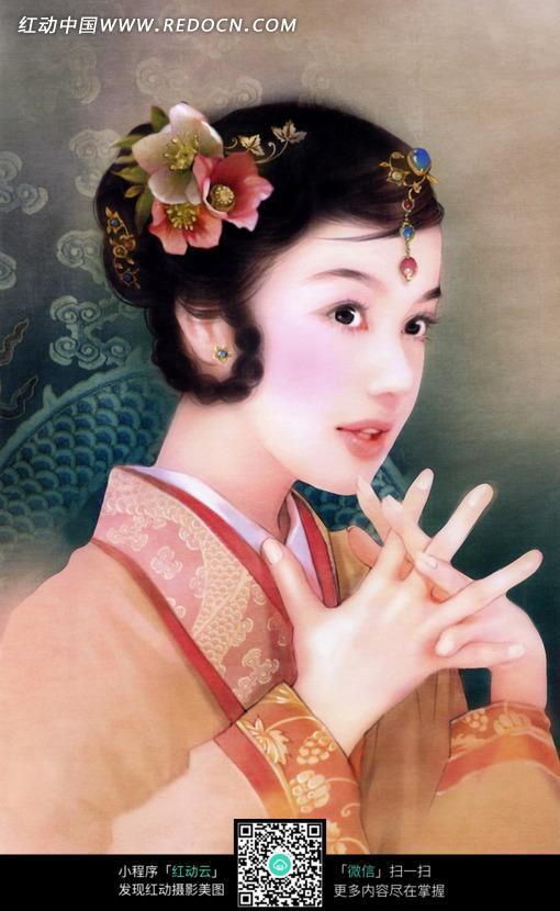 美丽的手绘效果古装美女图片素材_女性女人图片