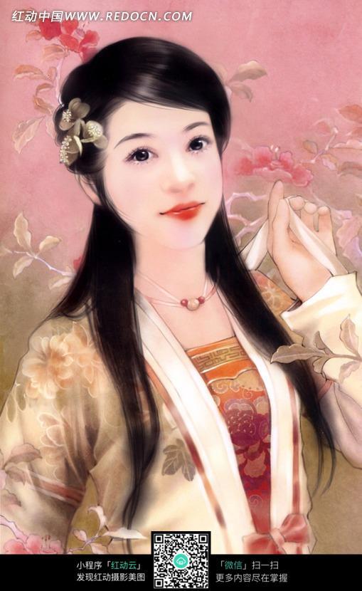手绘古装美女素材