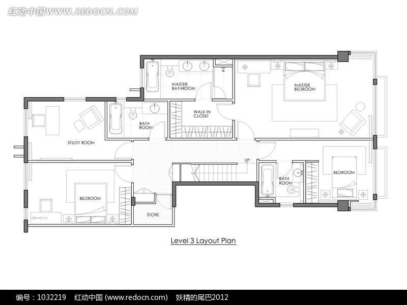 免费素材 图片素材 环境居住 室内设计 酒店三层室内布局平面图  请您