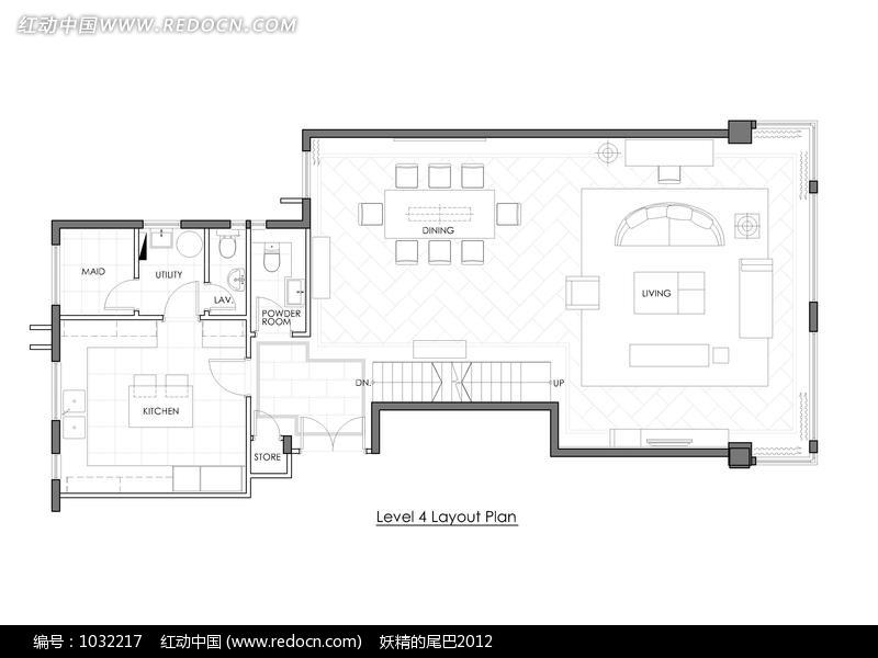 楼房四楼房间室内布局平面图