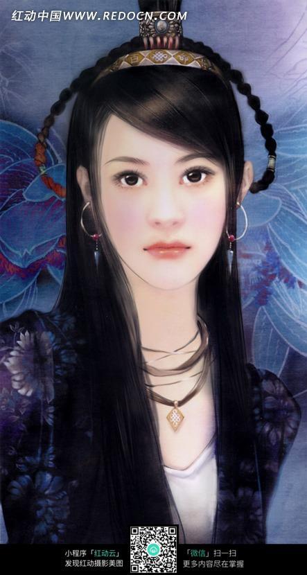 好看的手绘风格古装美女图片素材图片-人物图片素材