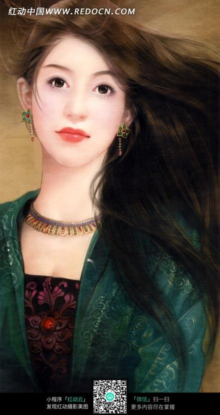 手绘风格古装美女