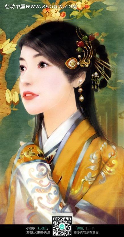 手绘风格古装美女图片素材