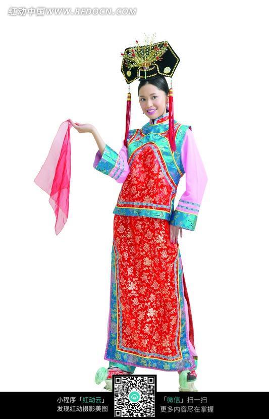 穿着清朝格格服饰的美女素材图片