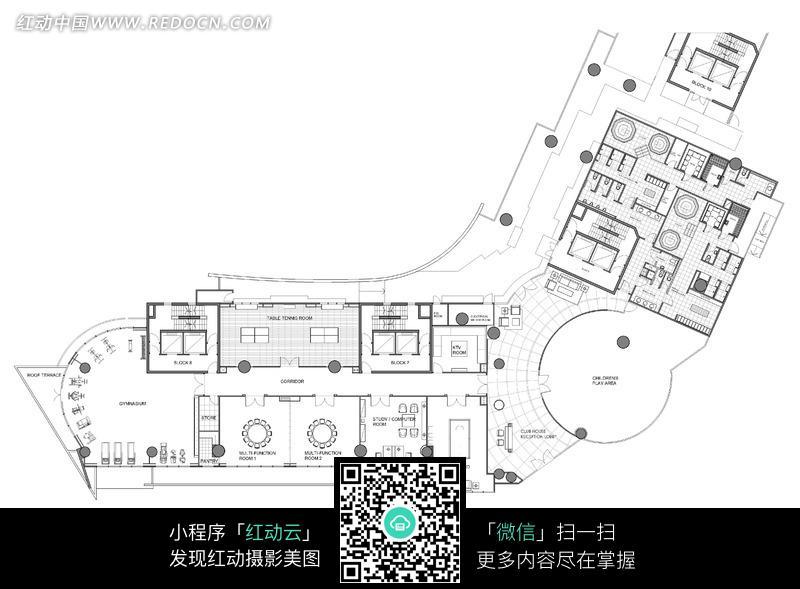 国外仓库内部设计手绘图