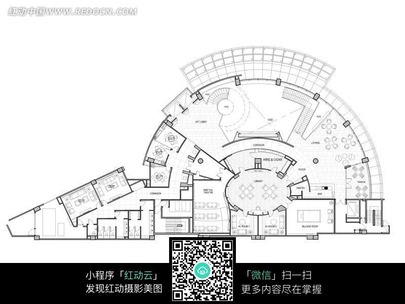 广场半圆形平面设计图
