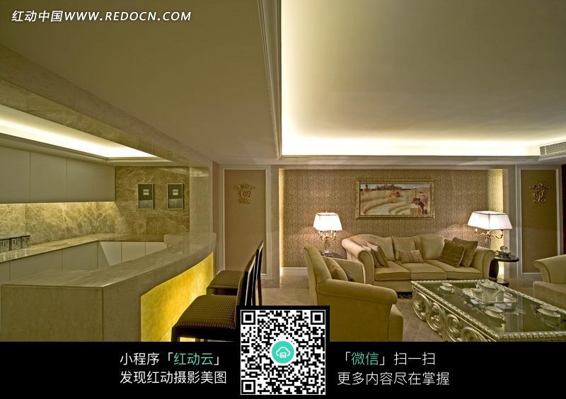 经典欧式风格卧室客厅吧台效果图图片