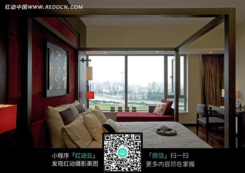 低调奢华的现代中式风格卧室效果图图片高清图片