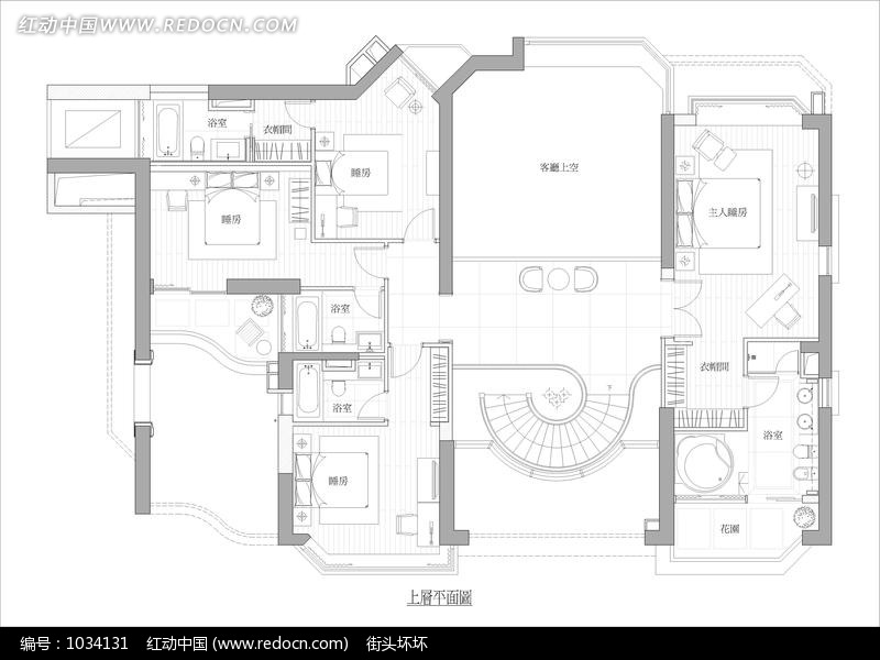 免费素材 图片素材 环境居住 室内设计 别墅上层室内平面布局图  请您