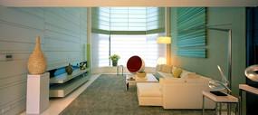 客厅区内窗户正面方向装修效果