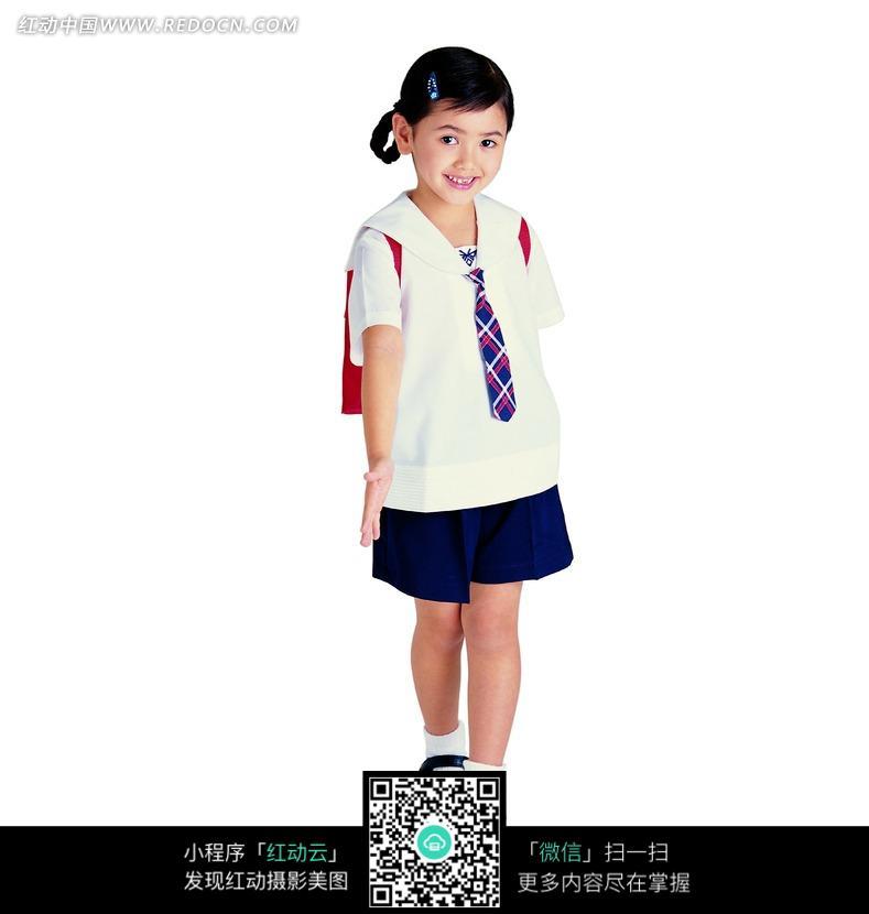 穿问题的小学生小学校服的烙饼图片