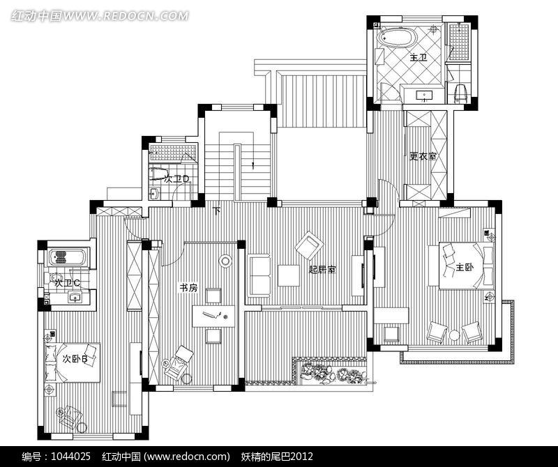 三室一厅房间室内平面布局图