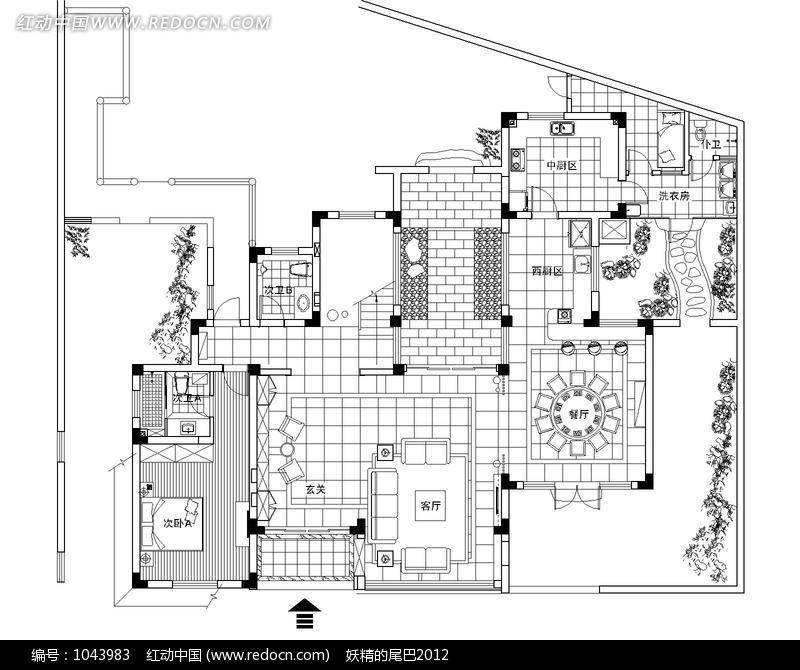 别墅首层室内设计平面图