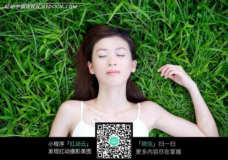 睡在草地上的美女图片