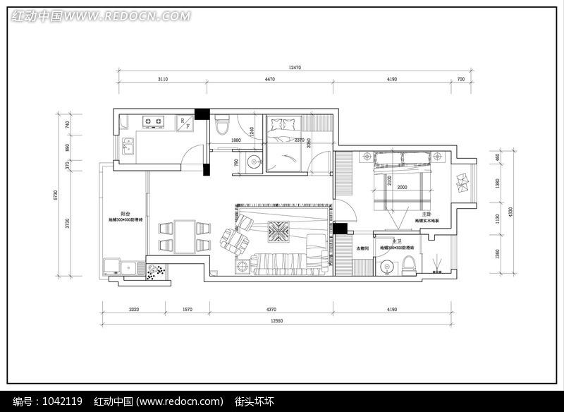 大户型单元楼平面布置图