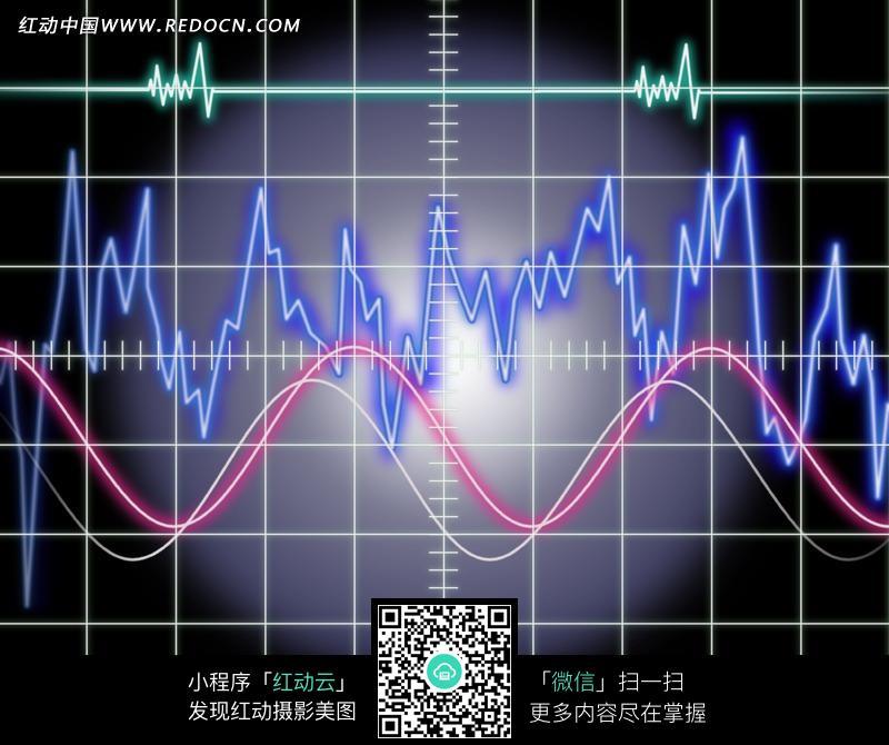 曲线和心电图构成的图片图片