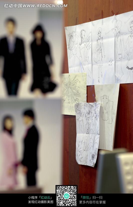 服装设计手绘稿拍摄