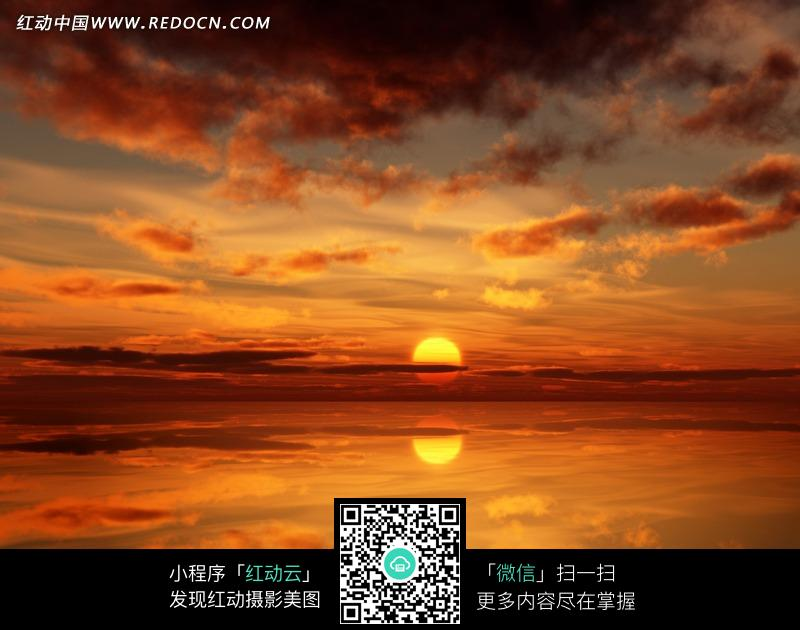 免费素材 图片素材 自然风光 自然风景 壮观的海上落日和满天云霞