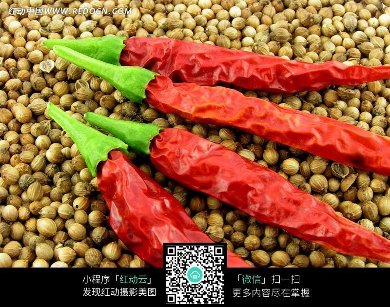 胡椒粒上面的干辣椒图片