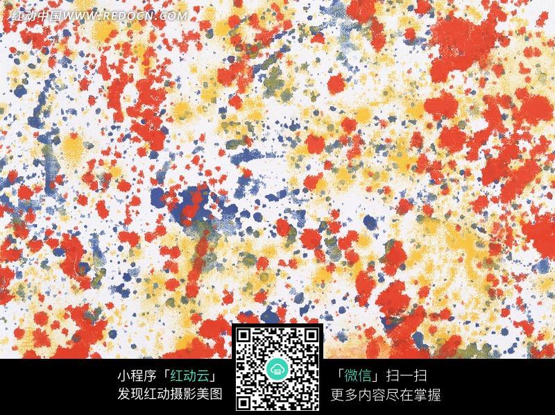 白底蓝黄红颜色滴洒重叠斑迹背景图片免费下载 红动网图片