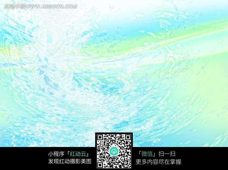蓝绿色彩中白色漩涡水花纹背景图片