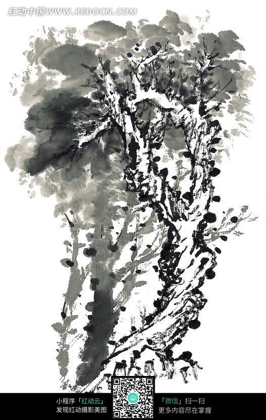 茂盛的大树黑白水墨画