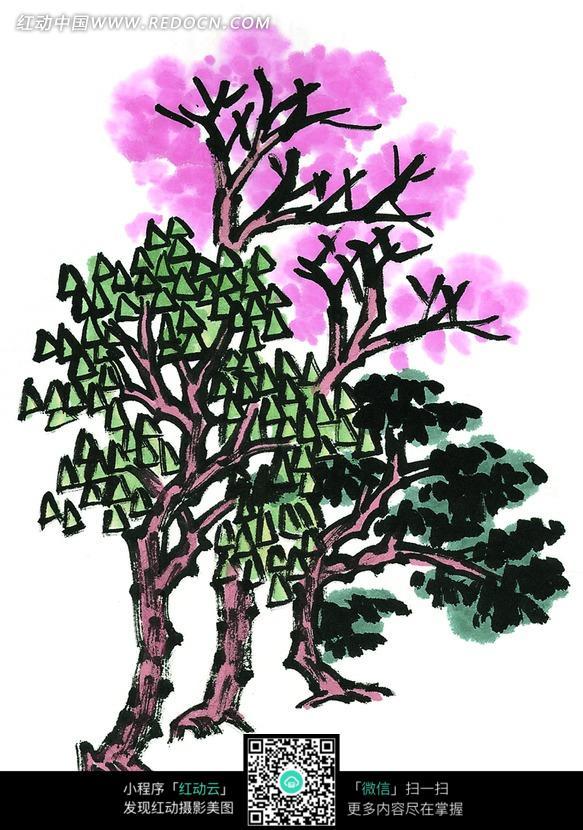 手绘彩色水彩画树林插画