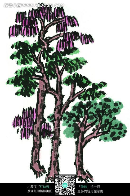 写意树木画图片
