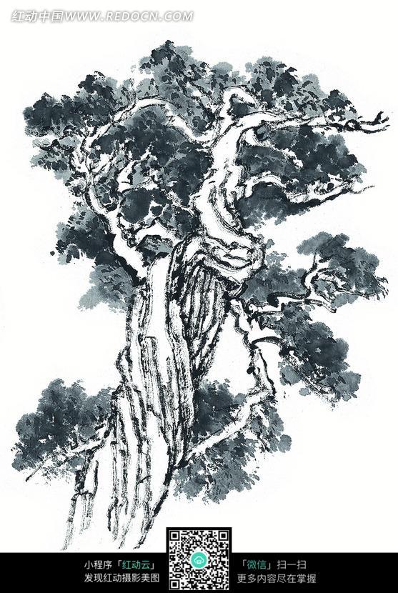 粗壮的树干的树水墨画