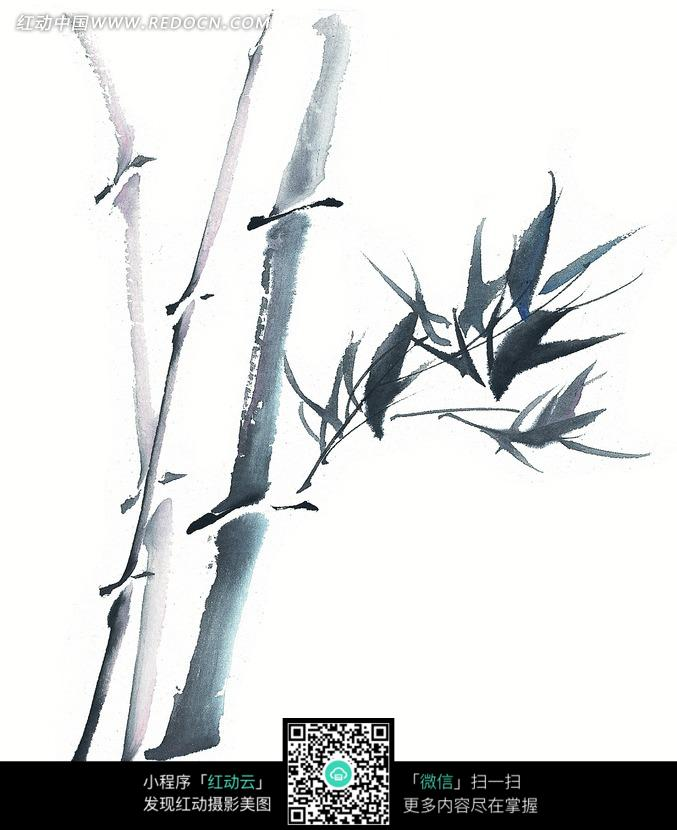 单色水墨画一截竹子图片