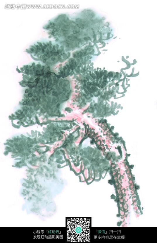 树叶茂盛的树干水墨画