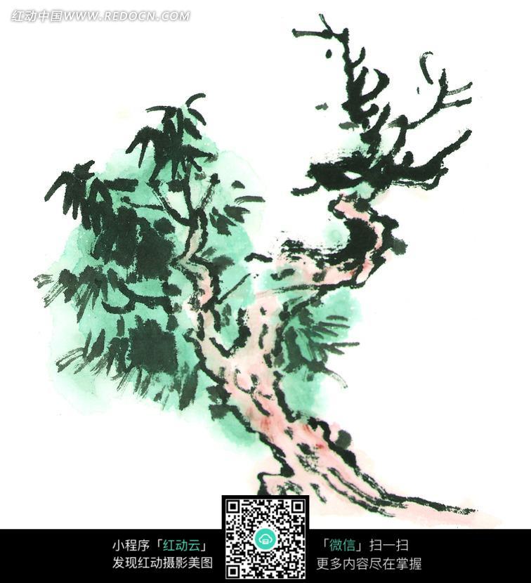 倾斜生长的绿树写意画图片