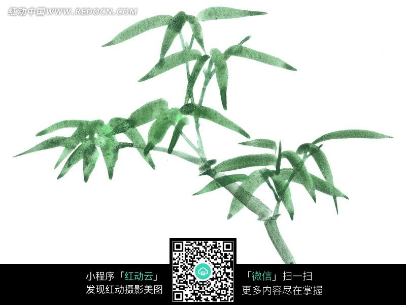 水墨中国画风格的竹叶图片