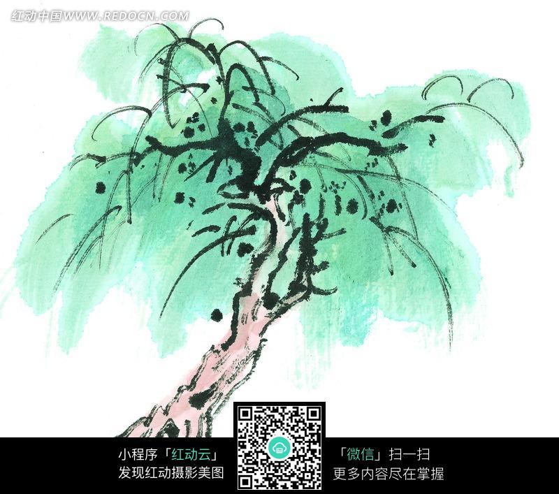 粉色树干的柳树水墨画图片图片