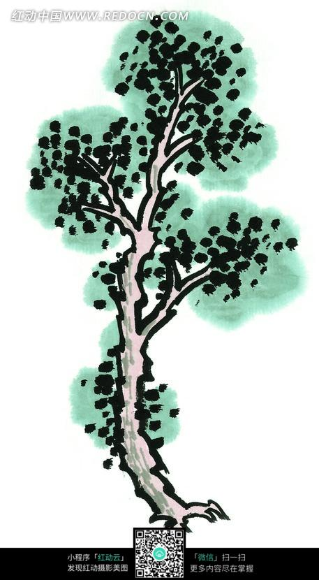 圆叶树木写意画图片