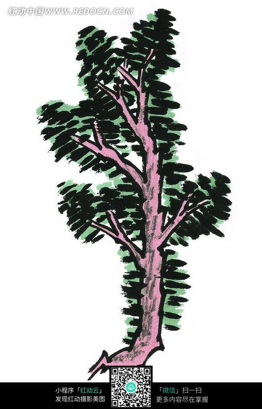 一棵苍翠的树木写意画图片