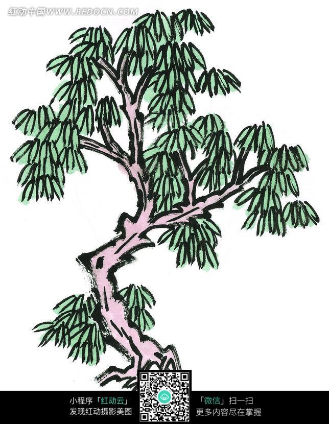 细叶树木写意画图片
