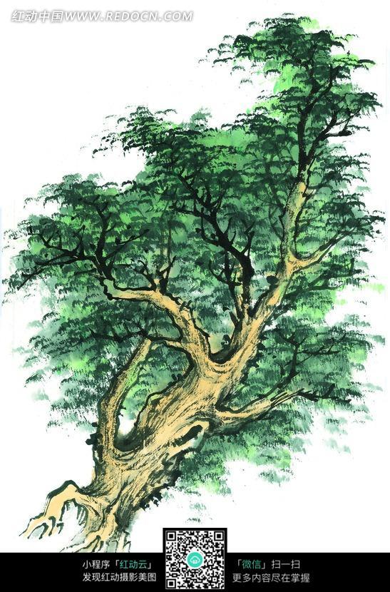 翠绿的树木写意画图片