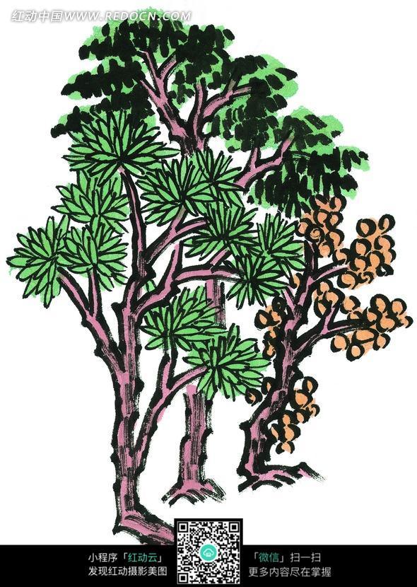 手绘彩色树叶植物插画图片_书画文字图片