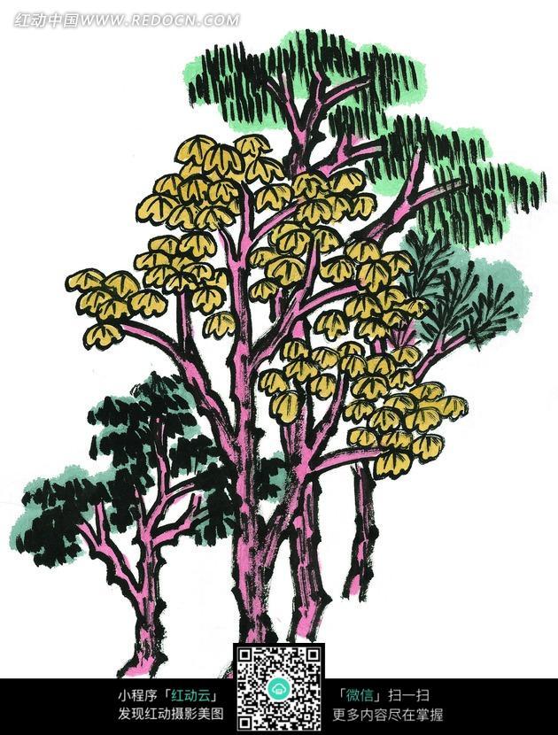 手绘彩色树叶卡通插画图片