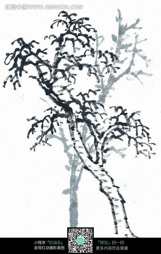 一棵落叶树木写意画图片