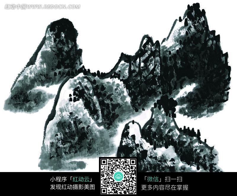 水墨画 手绘 中国画 山峰 山林 写意 山水画 高山  书画