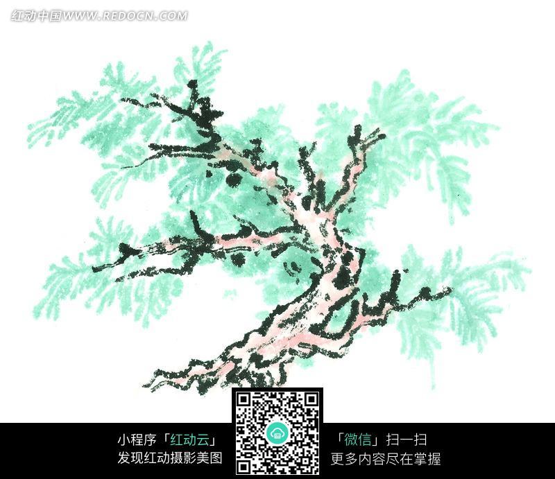蓝色叶子树木写意画图片