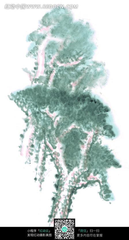 松树手绘绘画