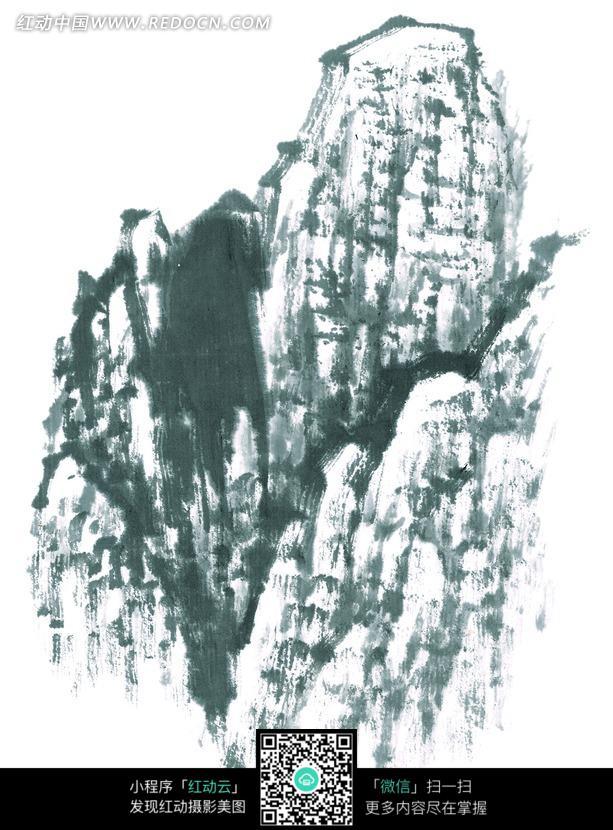 手绘水墨山峰素材图片