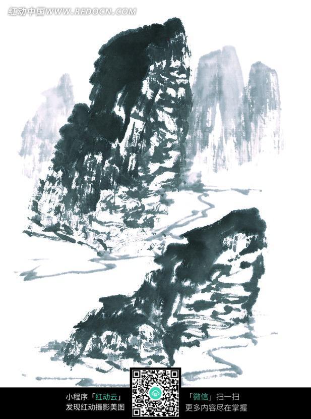手绘 水墨画 山峰 高山 险峻 大山 中国画  书画